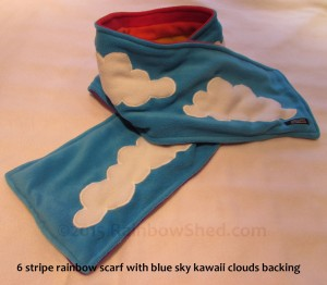 Blue sky clouds kawaii backed scarf